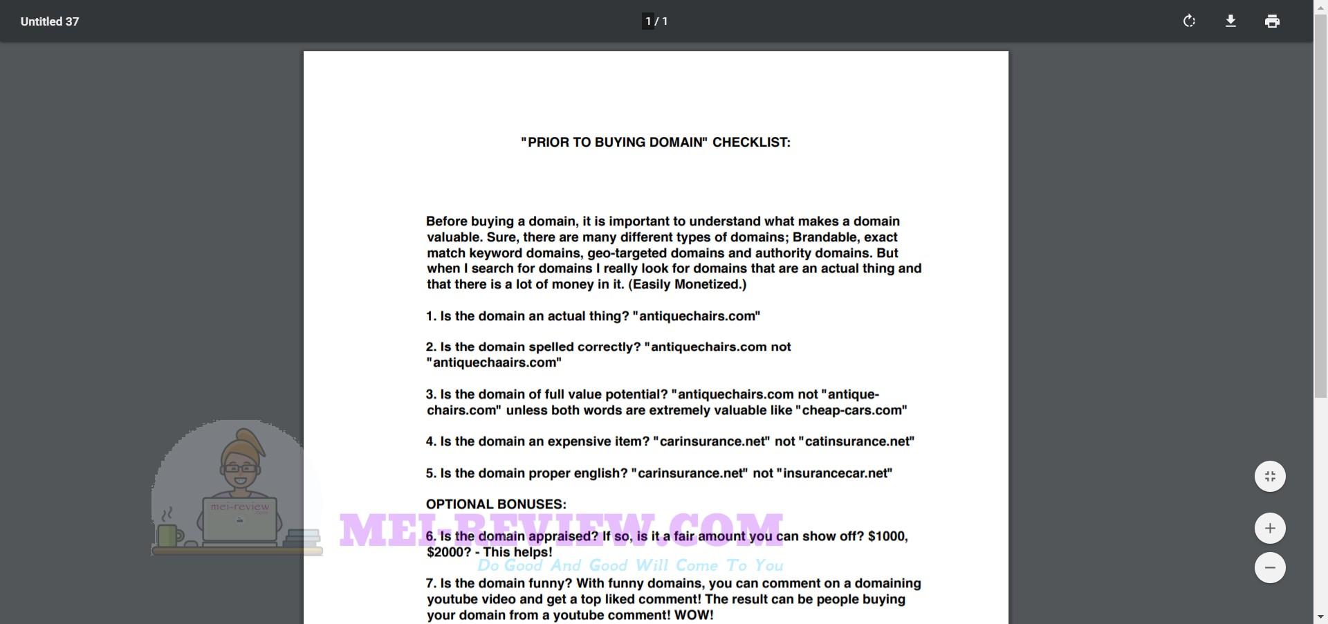 Marketing-Reward-Domains-Checklists