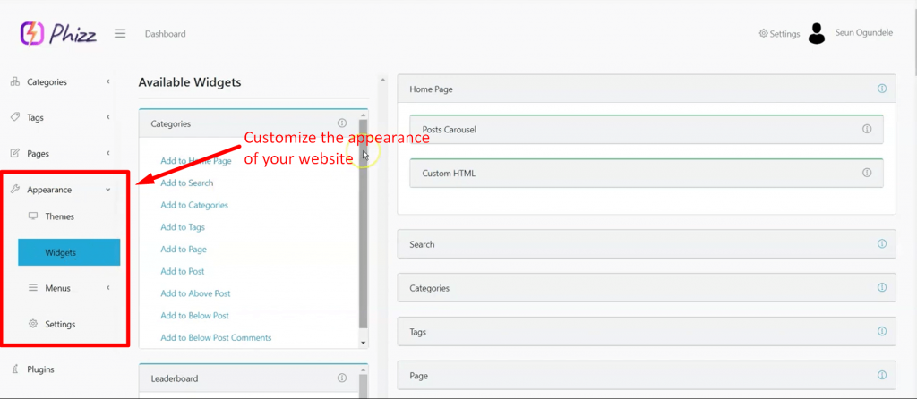 Phizz-demo-customize-appearance