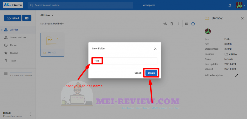 HubSuite-Demo-12-create-new-folder