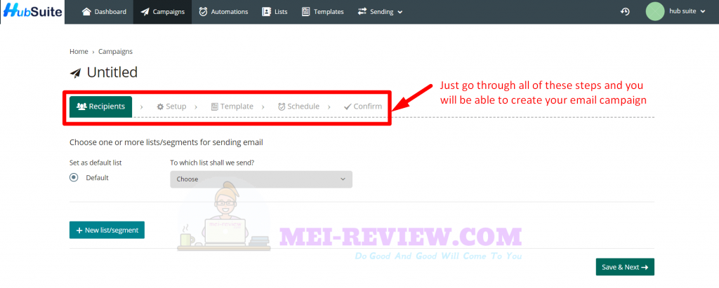 HubSuite-Demo-5-create-email-campaign