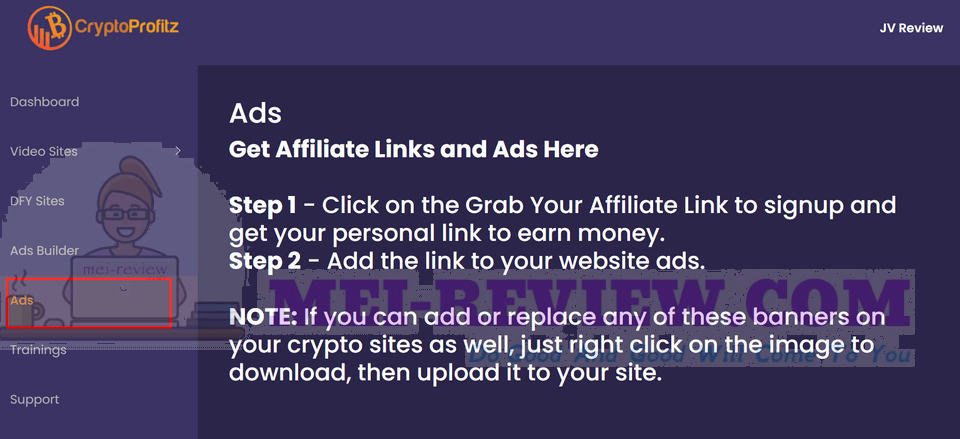 Crypto-Profitz-demo-12-This-section-will-show-you-how-to-get-your-affiliate-link
