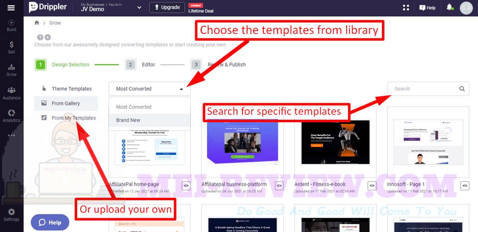 Drippler-demo-5-choose-templates
