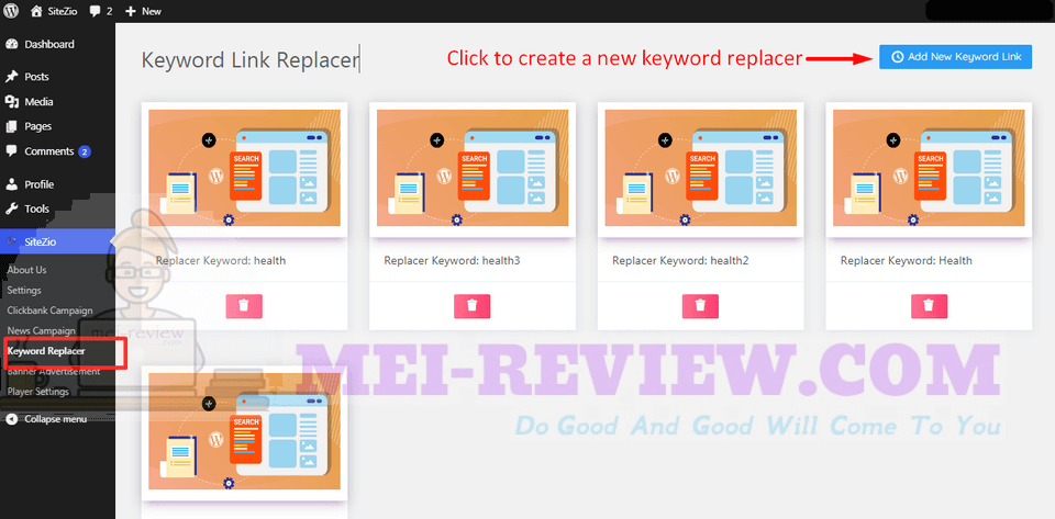 SiteZio-demo-9-Click-on-the-keyword-Replacer-section-and-click-on-Add-New-Keyword-Link-to-start-creating-a-new-one