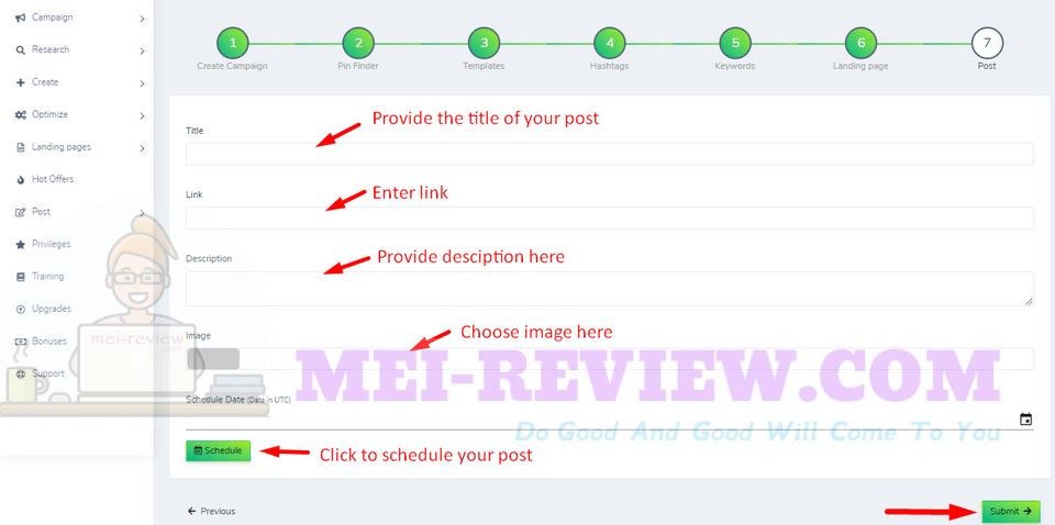 ViroLink-demo-11-On-to-the-Post-step-here-you-need-to-provide-some-information-including-Title-Link-Description-choose-Image-schedule-Date-And-click-on-Submit-to-finish-your-settings