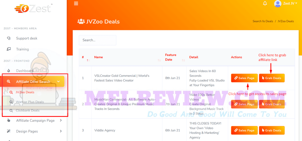 Zest-demo-3-In-this-section-you-can-choose-the-deal-to-start-your-campaign-It-includes-many-offers-from-top-platforms-like-JVZoo-WarriorPlus-ClickBank