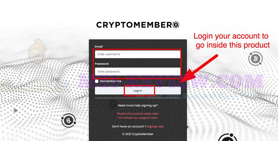 CryptoMember-Demo-1-login